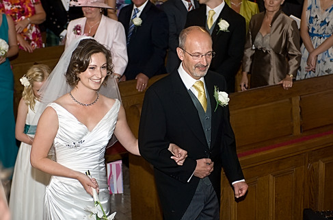 Bride and Dad walk the aisle