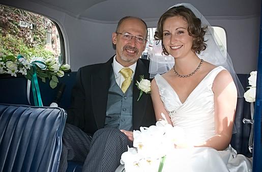 Bride & Dad Wedding Car Interior