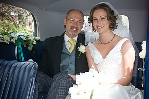 Bride & Dad Wedding Car Interior