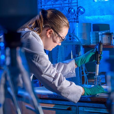 Chemist in her lab