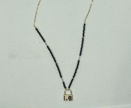Black Spinel Lock Necklace and Choker
