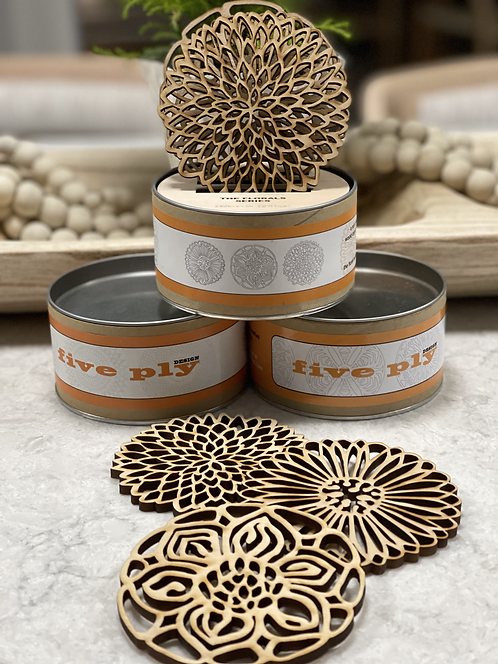 Laser Cut Wood Coasters - Floral