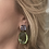 Thumbnail: Blue/Peridot Color Faceted Glass Drop Earring
