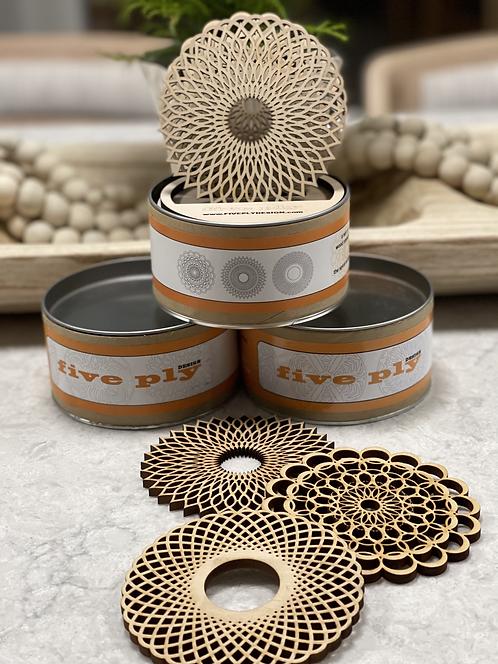 Laser Cut Wood Coasters - Spiral