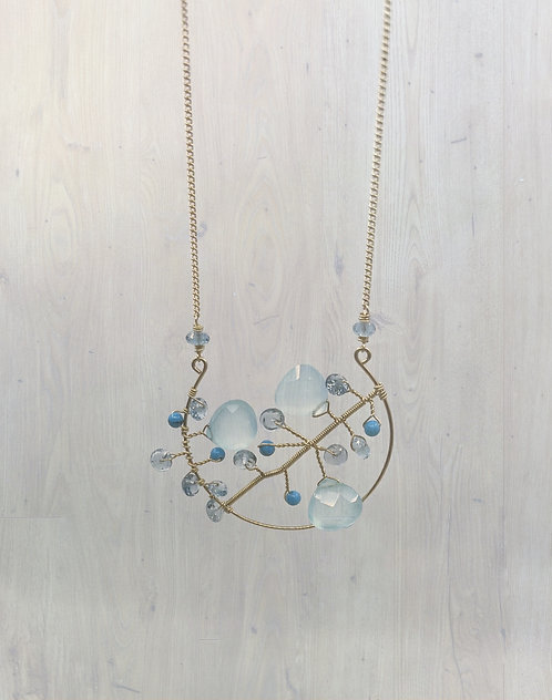 Chalcedony and Turquoise Tree Necklace