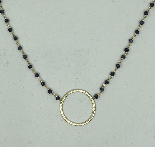 Sapphire Gold Circle Necklace