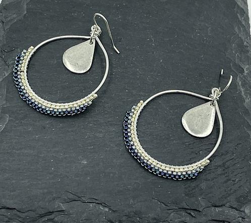 Woven hoop earring with drop