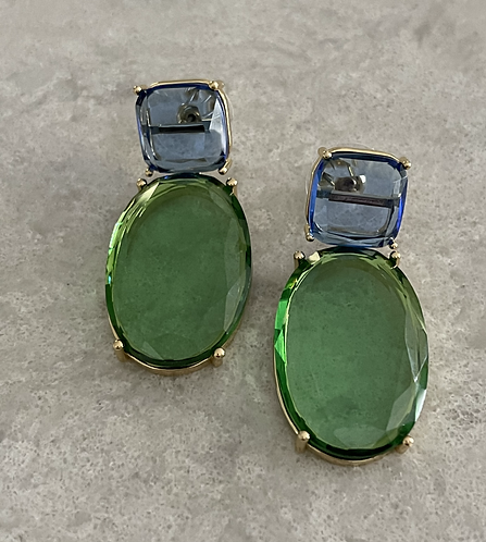 Blue/Peridot Color Faceted Glass Drop Earring