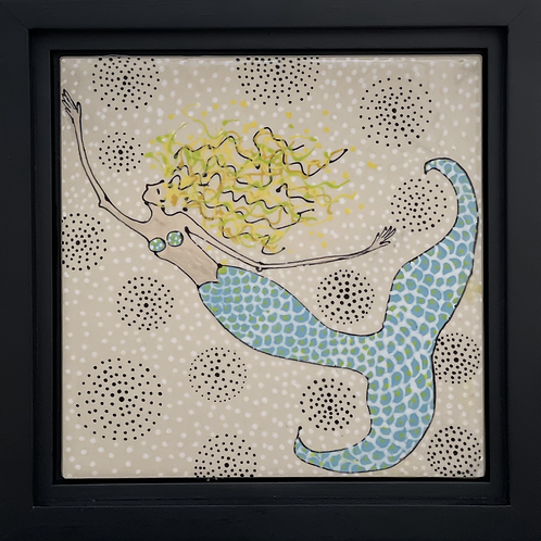 Ceramic Mermaid Tile with Frame