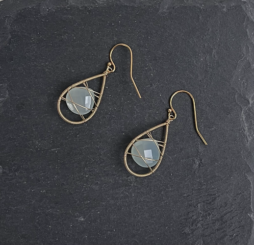 Chalcedony Cage Earring