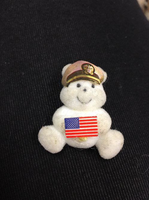 Flocked White Bear with American Flag and Law Enforcement Cap Lapel Pin