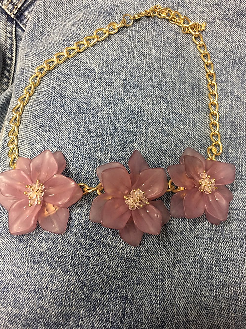 Necklace: Vintage Mauve Frosted Flower Trio Necklace With Gold Accents