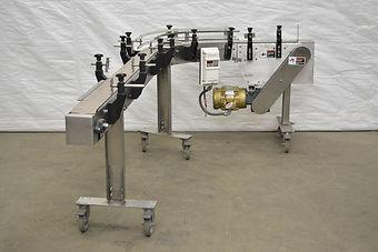 "4.5"" Arrowhead Stainless Steel Conveyor w/ 90 Degree Corner, Arrowhead Conveyor, Stainless Steel Conveyor, Bottle Conveyor, Process, Packaging"