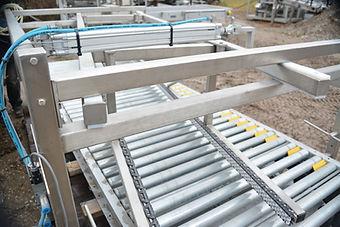 Stainless Steel Case Transfer Conveyor w/ Hytrol Powered Roller Conveyor, Case Transfer / Laner