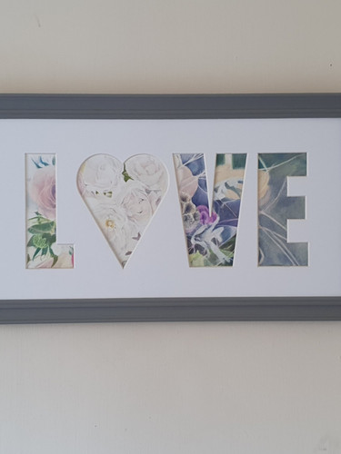 Grey Frame with flower filled Love Aperture