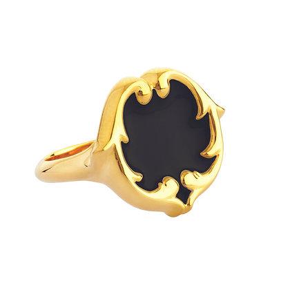 Enamel Signet Ring - Swan Black