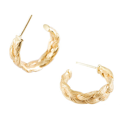 Magnitude Plait Hoop Golden Earrings