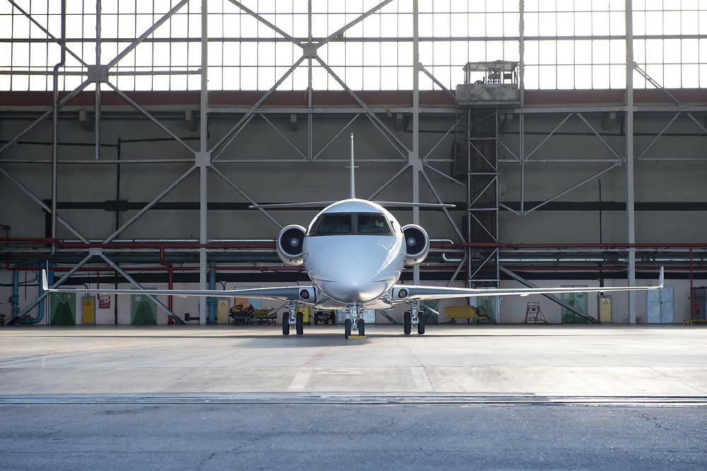 Business Jet in Hangar