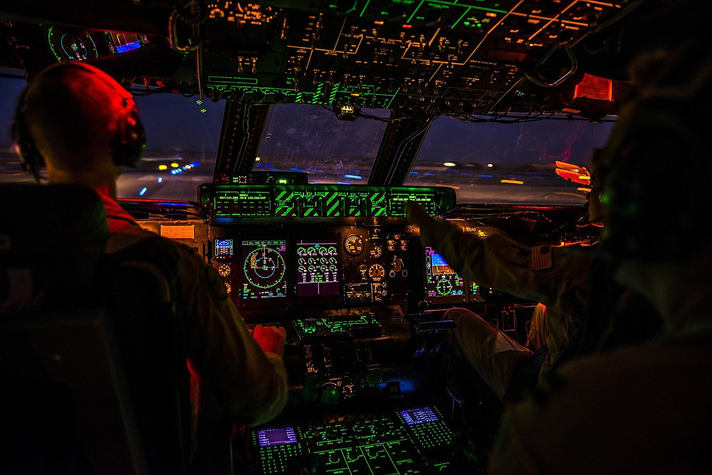 Cockpit of narrow body aircraft at night