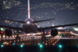 Narrow-Body Aircraft on runway at night