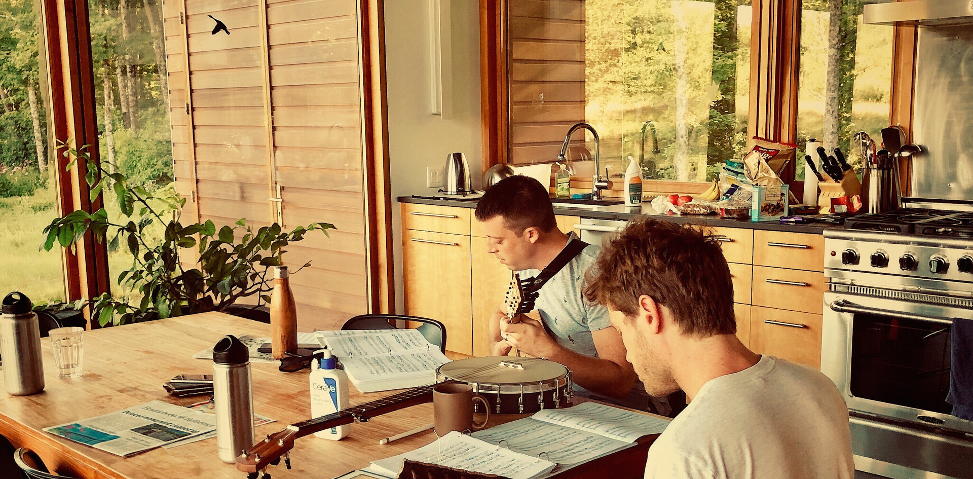 Paul and Adam warming up in the kitchen