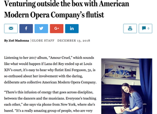 Venturing outside the box with American Modern Opera Company's flutist -  By Zoë Madonna GLOBE STAFF