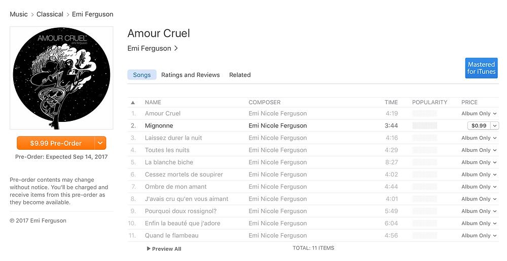 Amour Cruel iTunes Pre-order