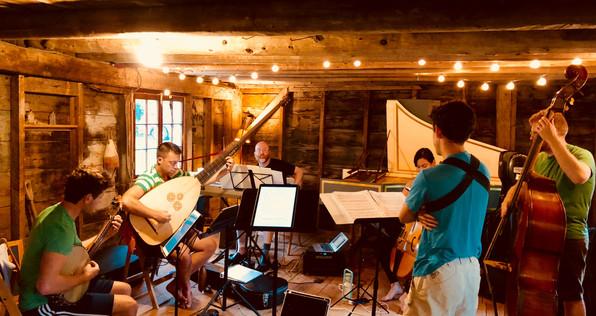 Rehearsing in Clay's barn