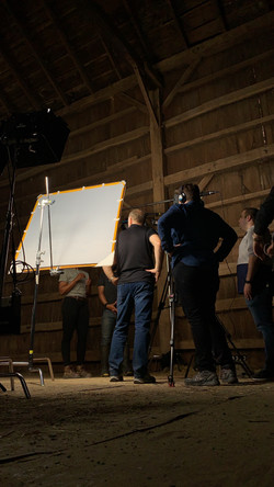 Interview in a barn