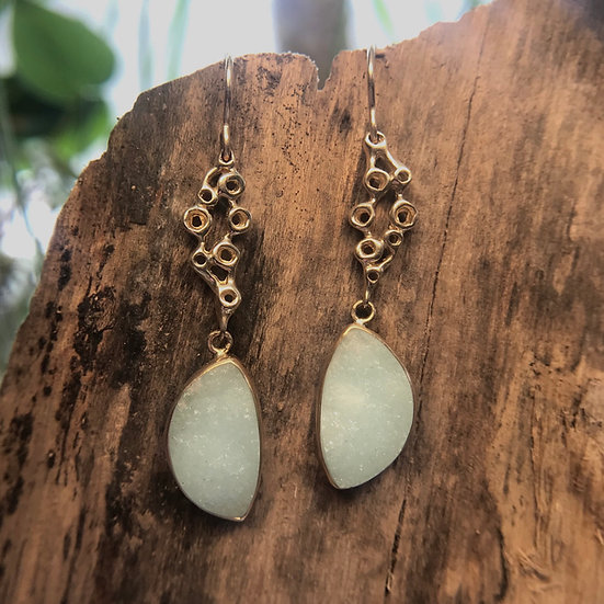 Hemimorphite Drusy dangle earrings