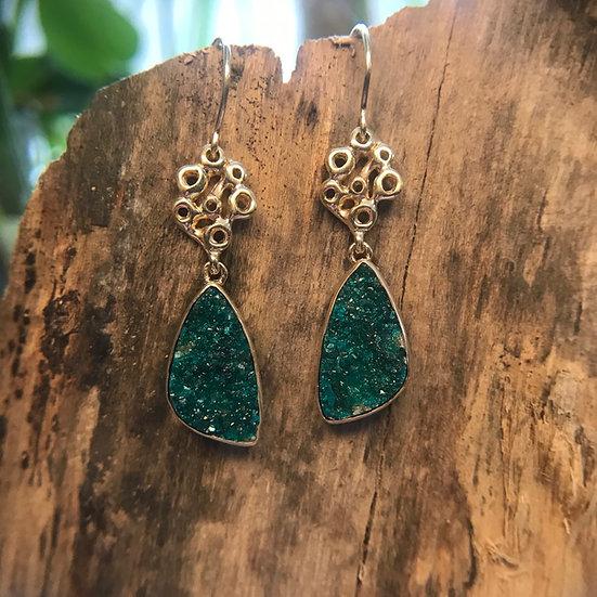 Chrome Dioptase Drusy dangle earrings - 14 karat gold