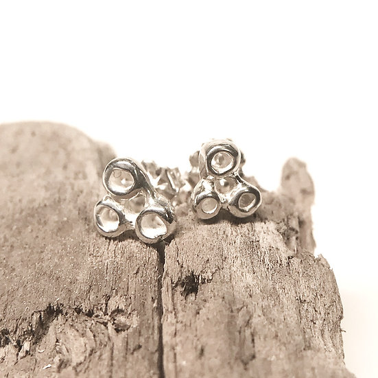 Three Bubble Stud, Large - sterling silver