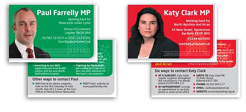 Business cards for Labour MPs & Cllrs