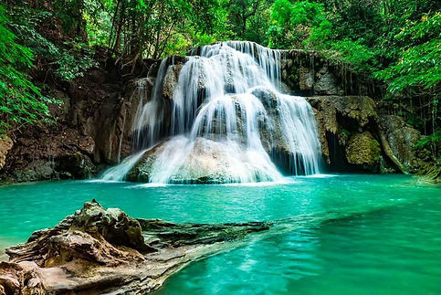 Soft-waterfall,-beautiful-green-water-in-a-green-tree-forest-on-a-tropical-mountain-at-Era