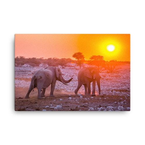 Elephants At Sunset [Canvas Print]