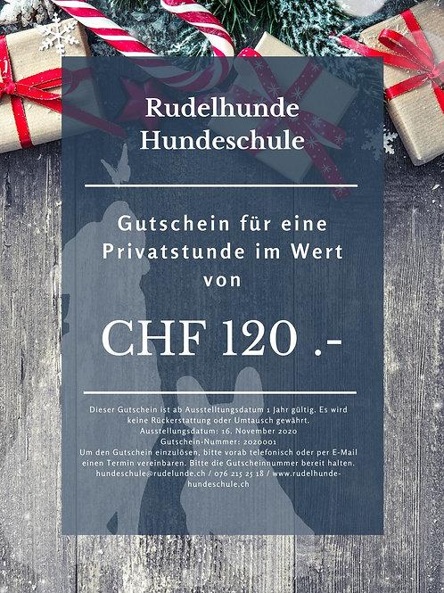 Gutschein für eine Privatstunde im Wert von CHF 120.-