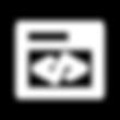 Ventana de sistema operativo con código de programación dentro como ícono de representación del área Páginas Web