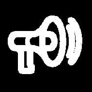 Megáfono emitiendo ondas de sonido como ícono representativo de la sección Seguinos