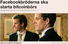 Facebookbröderna ska starta bitcoinbörs