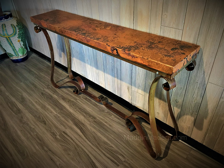 Copper Work - Console Table, Sofa table, Entry Table, Hand-hammered copper top,