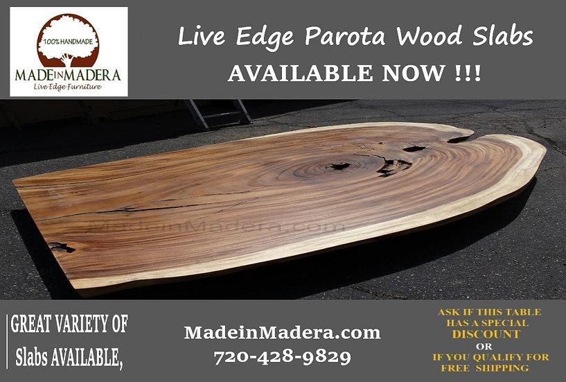 Live edge Dining Table, Epoxy Table top, Live Edge Parota wood Slabs