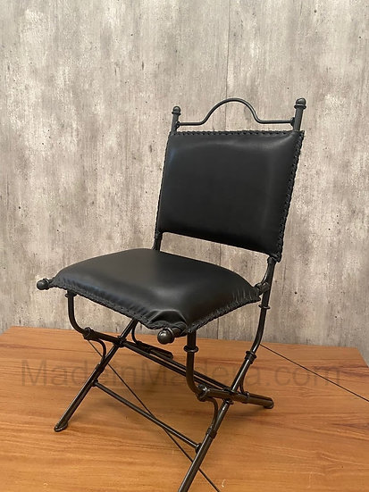 Genuine 100% Leather Chair - Hand crafted with metal frame - For Dining room - R