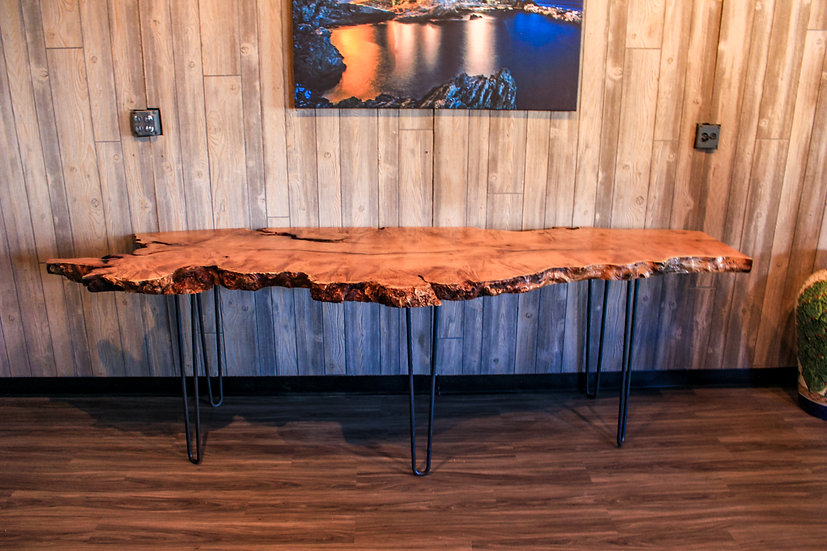 Mesquite Live edge Console, Table top, Desk, sofa table, Custom Height Dining Ta