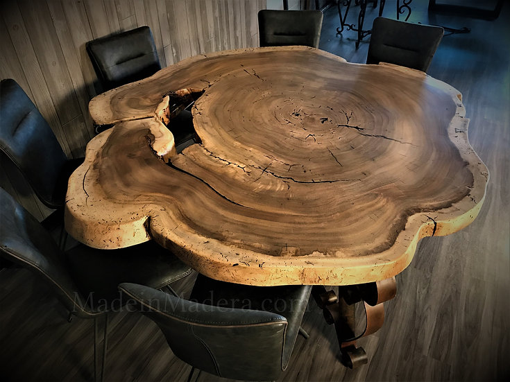 Large Round Live edge Dining Table, Epoxy Table top, Custom kitchen island,