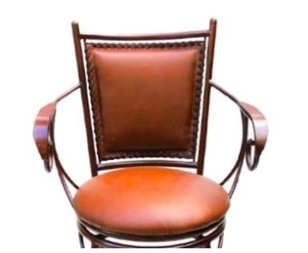 Barstool Genuine 100% Leather - Hand crafted with metal frame - Dining room -
