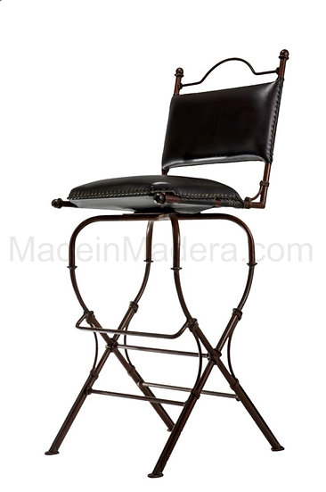 Genuine 100% Leather Barstool - Hand crafted with metal frame - Dining room -