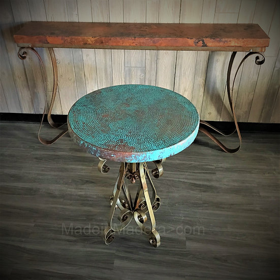 Foyer Table made of Handforged Iron,  hammered coppeTop,
