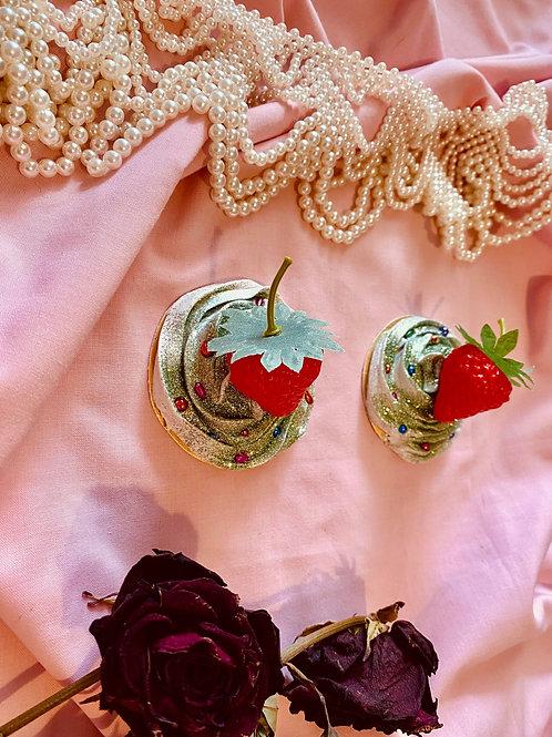 Green sparkle strawberry Nipple pasties