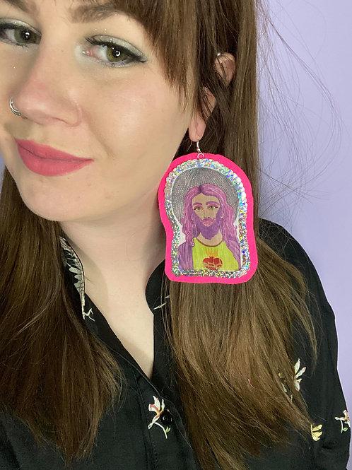 Disco Jesus statement earrings