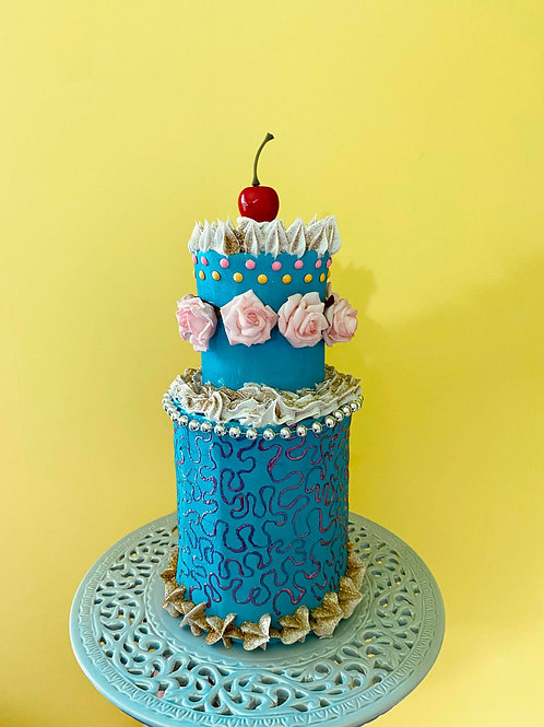 Two tier fake cake